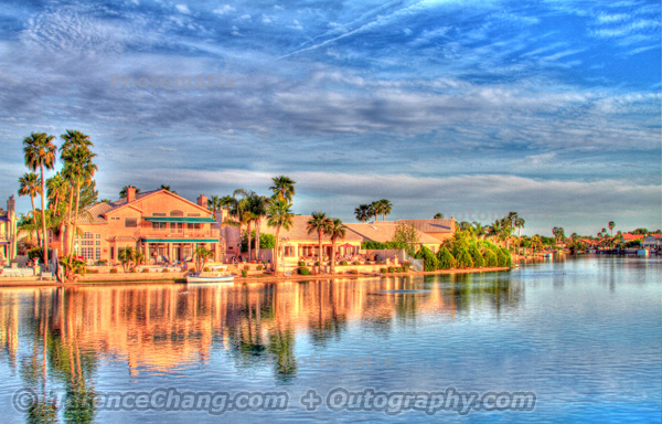 Taking HDR image at lake house