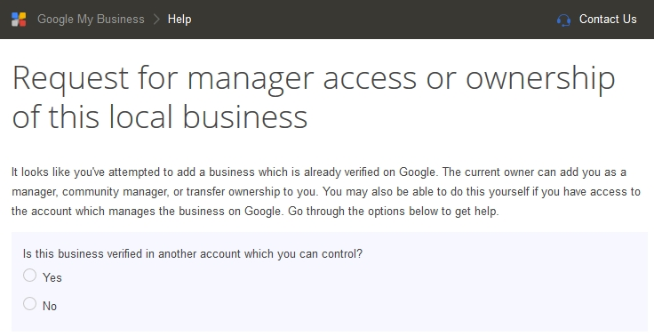 Google Local Page Ownership Transfer Request Form